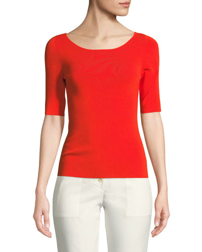 Knit Tie-Back Elbow-Sleeve Top