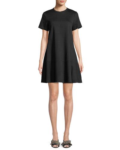 Crewneck Short-Sleeve A-Line Dress
