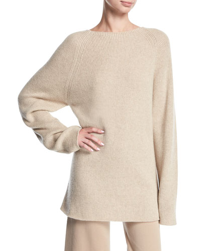 Fine-Rib Cashmere Boat-Neck Sweater