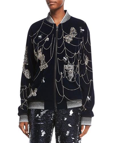 Spider Web-Embroidered Bomber Jacket