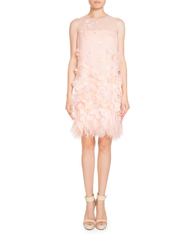 Sleeveless Organza Feather-Trim Dress