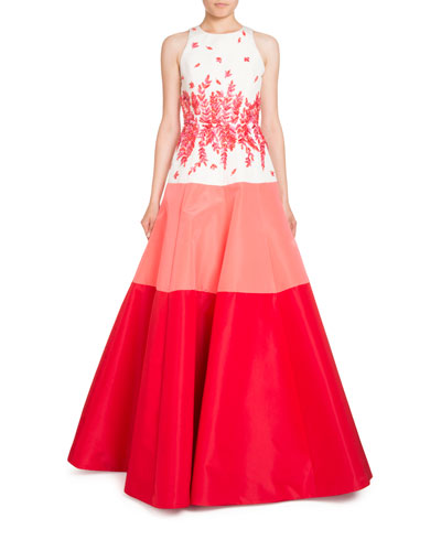 Sleeveless Beaded Colorblock Ball Gown