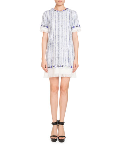 Fringed Short-Sleeve Tweed Dress