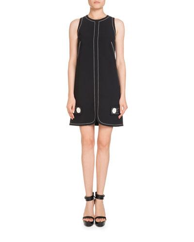 Sleeveless Button-Trim Shift Dress