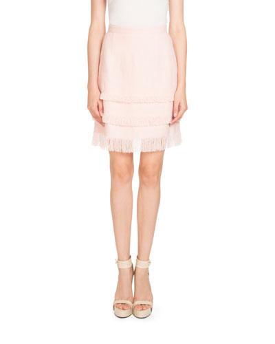 Tiered Linen Fringe Skirt