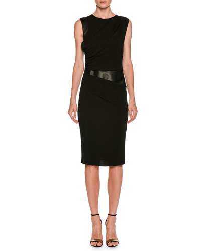 Sleeveless Side-Ruched Sheath Jersey Dress w/ Leather Panel
