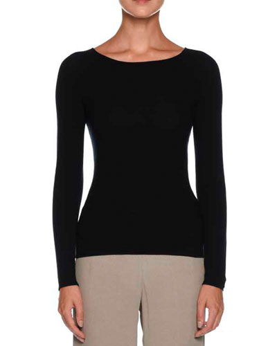 Round-Neck Long-Sleeve Knit Top