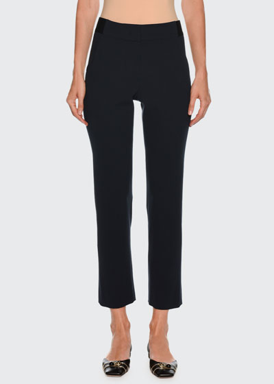 Straight-Leg Ankle Wool Pants