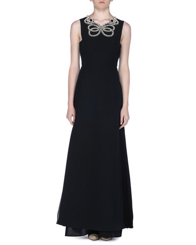 Sleeveless Pearly Beaded Gazar Gown