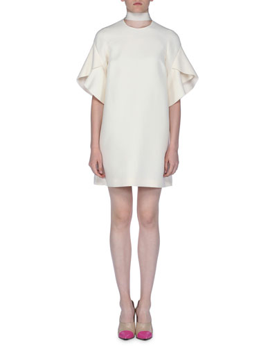 Short-Sleeve Tie-Neck Gazar Dress