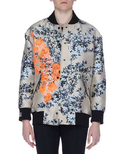 Embroidered Floral-Print Satin Bomber Jacket