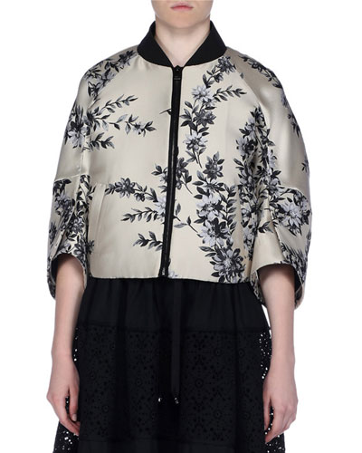 Floral Satin Zip-Front Cape Jacket