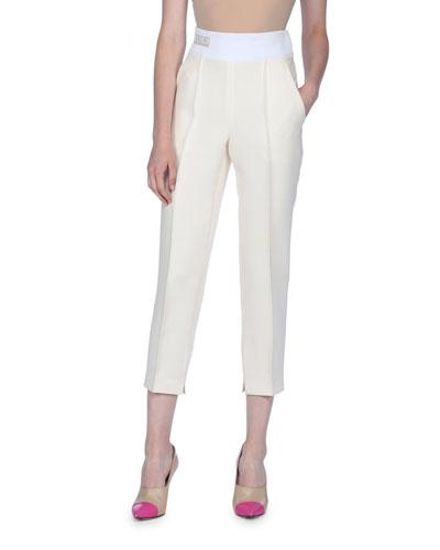 High-Waist Lightweight Gazar Pants