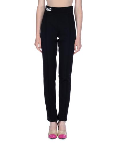 Pleated Gabardine Pants with Knit Waist