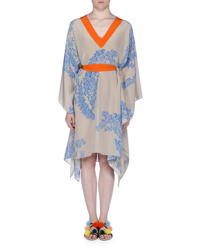 V-Neck Tie-Waist Caftan Dress