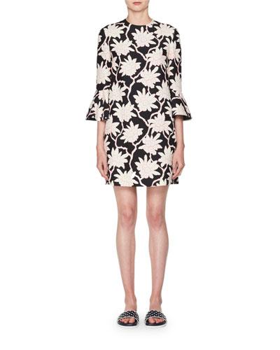 3/4-Sleeve A-Line Floral-Print Wool-Silk Short Dress