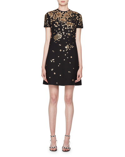 Crewneck Short-Sleeve A-Line Dress w/ Floral Paillettes
