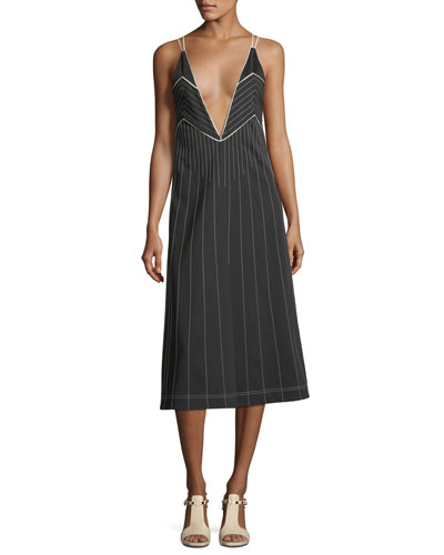 Plunging Sleeveless Jersey Dress with Contrast Topstitching