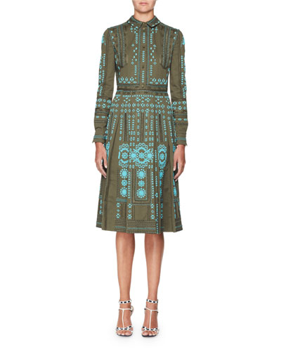 Beaded Cotton Faille Shirtdress