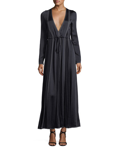 Long-Sleeve Hammered Satin Maxi Dress