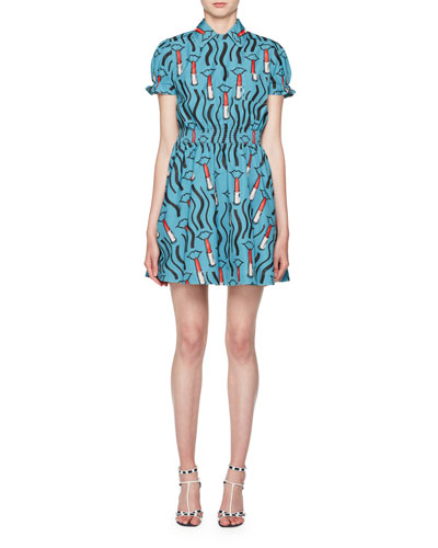 Short-Sleeve Lipstick-Print Collared Dress