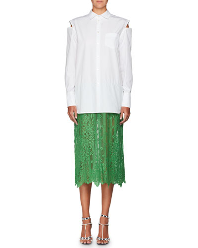 Long-Sleeve Button-Front Poplin Shirt with Attached Lace Skirt