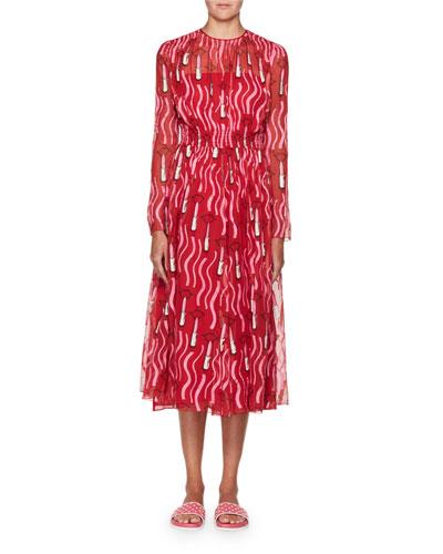 Lipstick-Print Chiffon Midi Dress