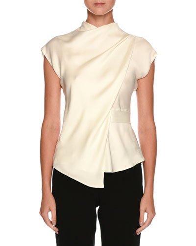High-Neck Cap-Sleeve Silk Charmeuse Blouse