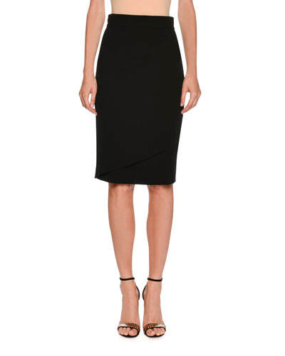 Wrap-Front Stretch Pencil Skirt