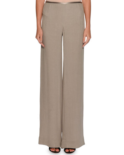 Side-Zip Crinkled Cady Wide-Leg Pants