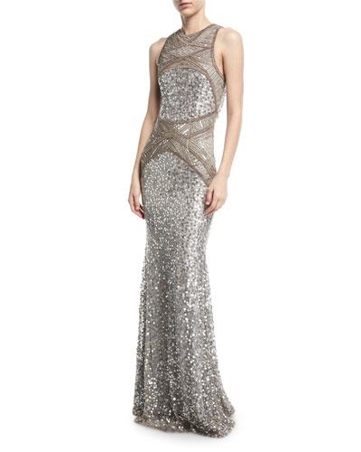 Sleeveless Geometric Beaded Gown