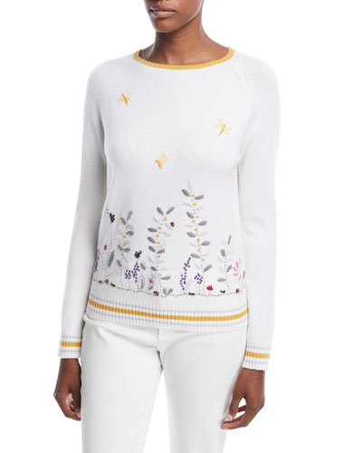 Flower Meadow Embroidered Cashmere Sweater