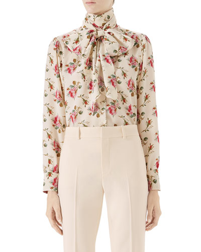Rose-Print Silk Shirt