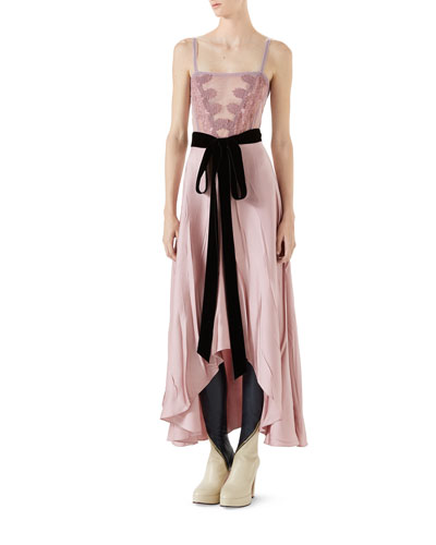 Double Satin Dress w/ Lace Insert & Tie Waist