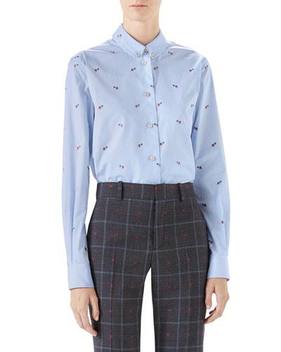 Pierced-Heart Fil Coupé Cotton Shirt