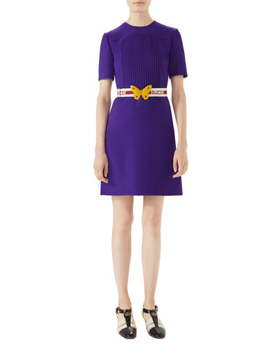 Wool-Silk Pintuck Dress with Belt