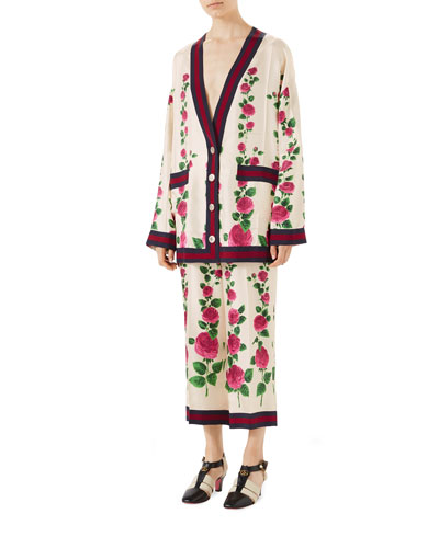 Mini Jardin de Rose Pajama-Style Pants with Web Detail