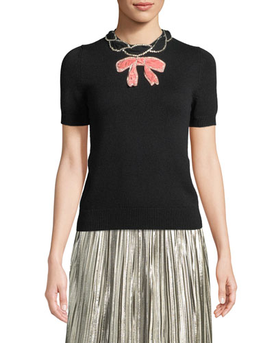 Short-Sleeve Cashmere-Silk Bow Top