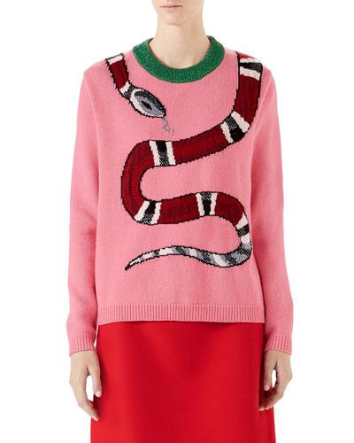 Long-Sleeve Wool Snake Intarsia Sweater