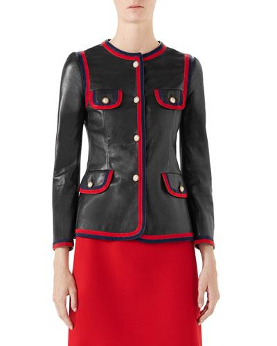 Napa Leather Jacket with Web Trim