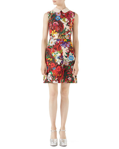 Flora Tiger Sleeveless Cady Dress w/ GG Belt