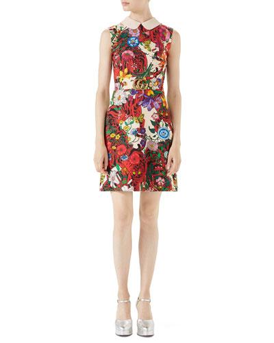 Flora Tiger Sleeveless Cady Dress w/ GG Belt