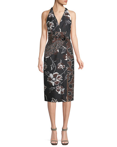 Floral-Print Dupioni Halter Dress