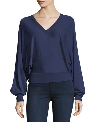 V-Neck Dolman-Sleeve Sweater