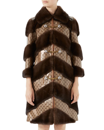 Chevron Fur & GG Jacquard Coat