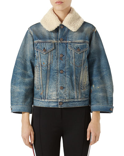 Stone-Washed Denim Jacket with Fur Cuffs