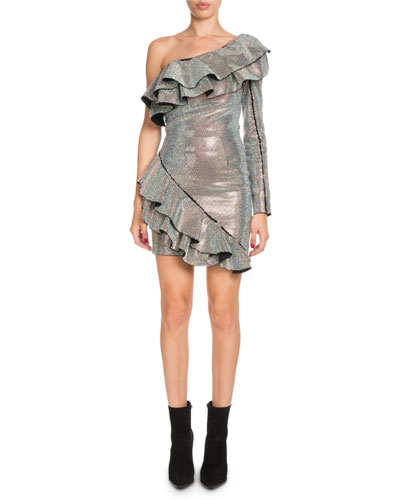Ruffled Metallic One-Shoulder Dress