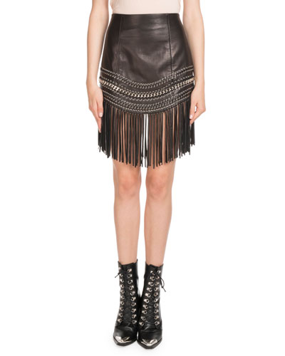 Fringed Leather Chain-Trim Skirt