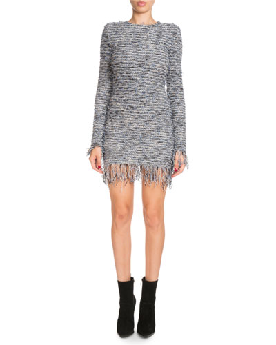 Frayed Tweed Crewneck Dress