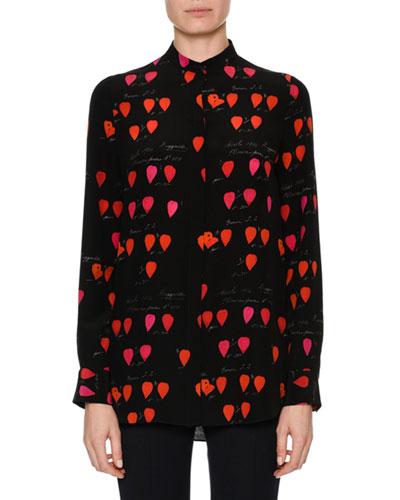 Heart-Print Crepe Button-Down Blouse